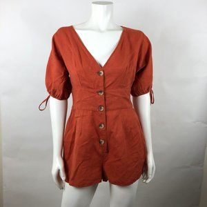 URBAN OUTFITTERS Orange Short Sleeve Romper Sz M